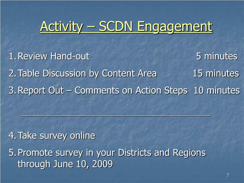 Activity – SCDN Engagement