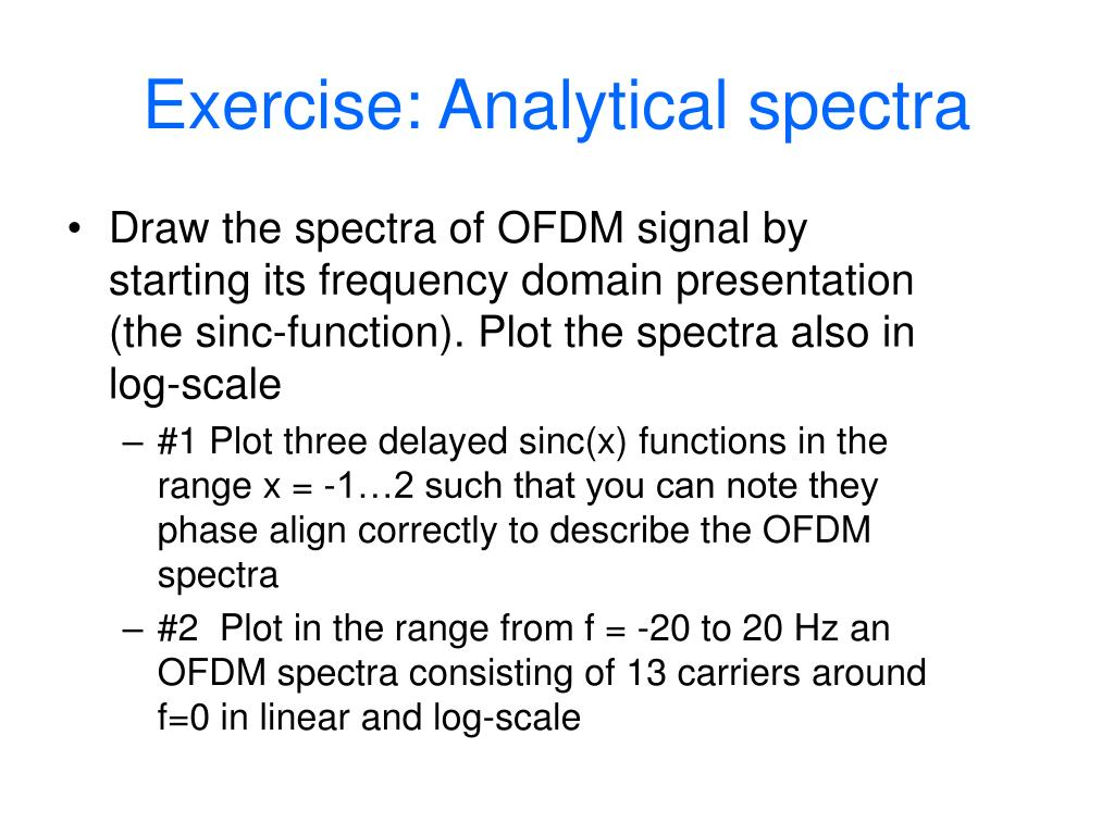 Exercise: Analytical spectra