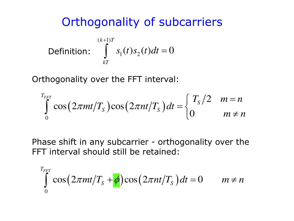 Orthogonality of subcarriers