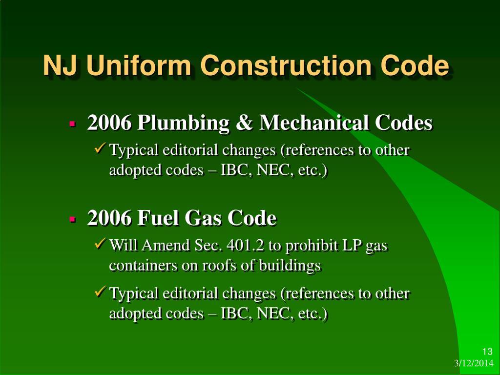 Uniform Construction Codes 103