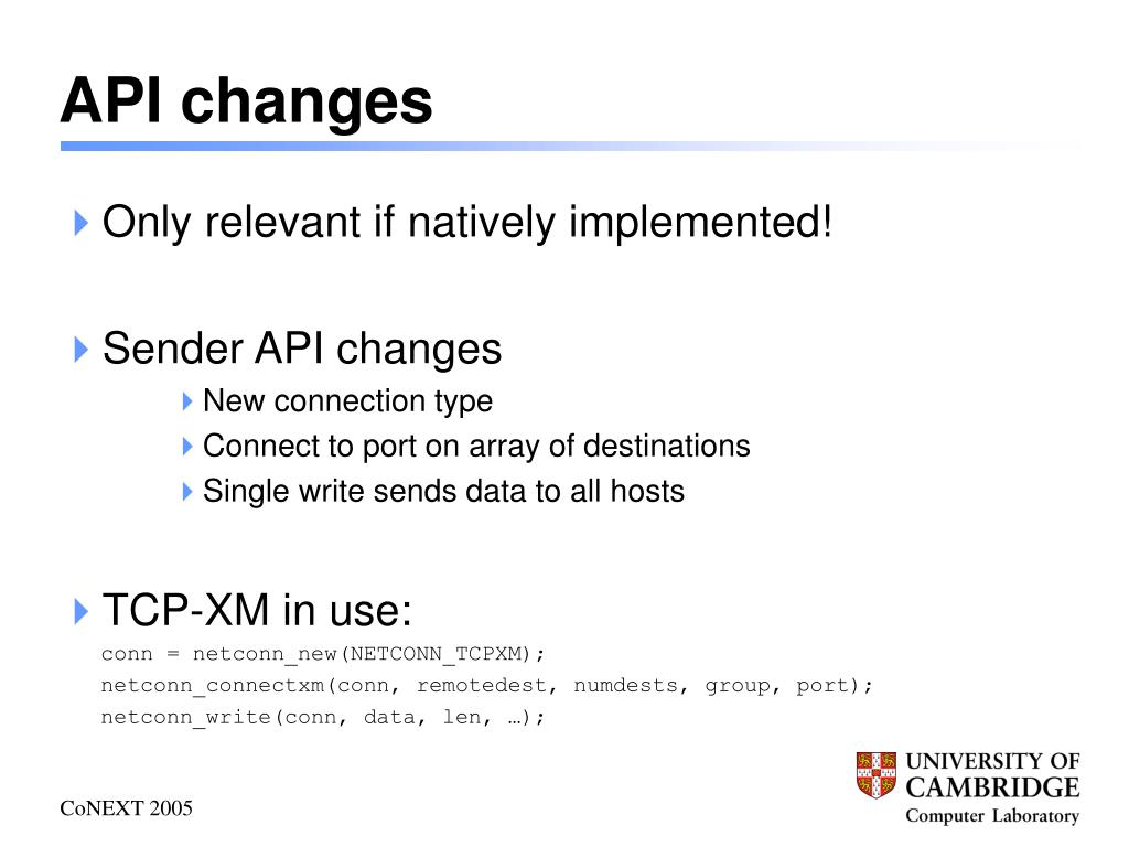 API changes
