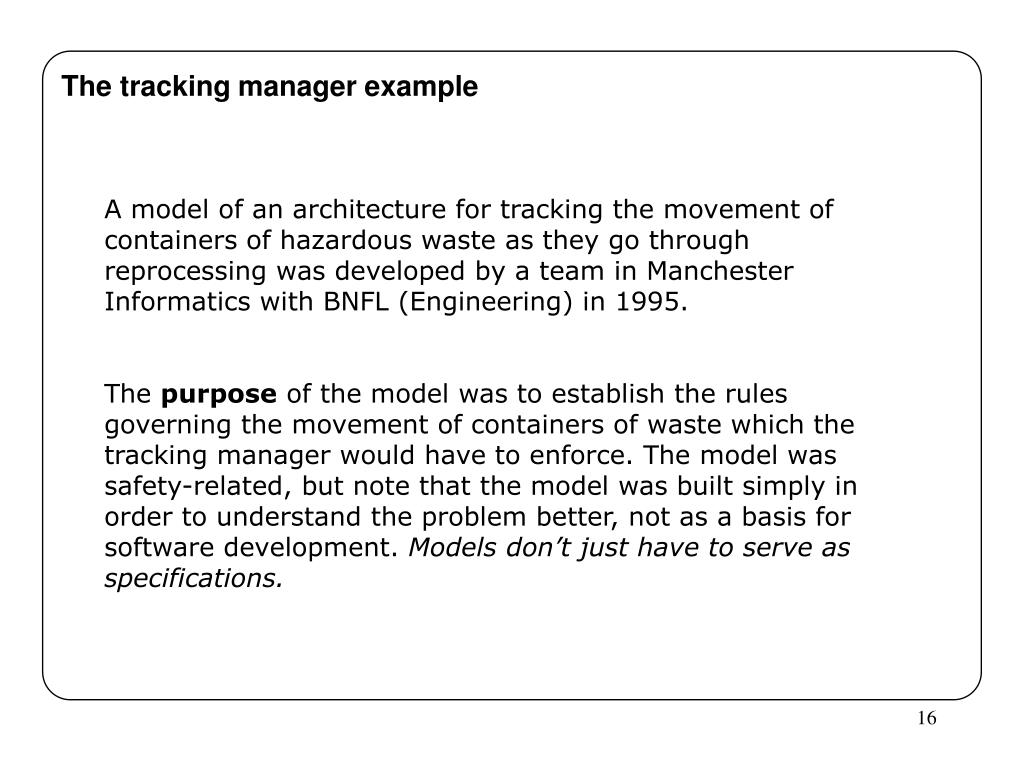 The tracking manager example