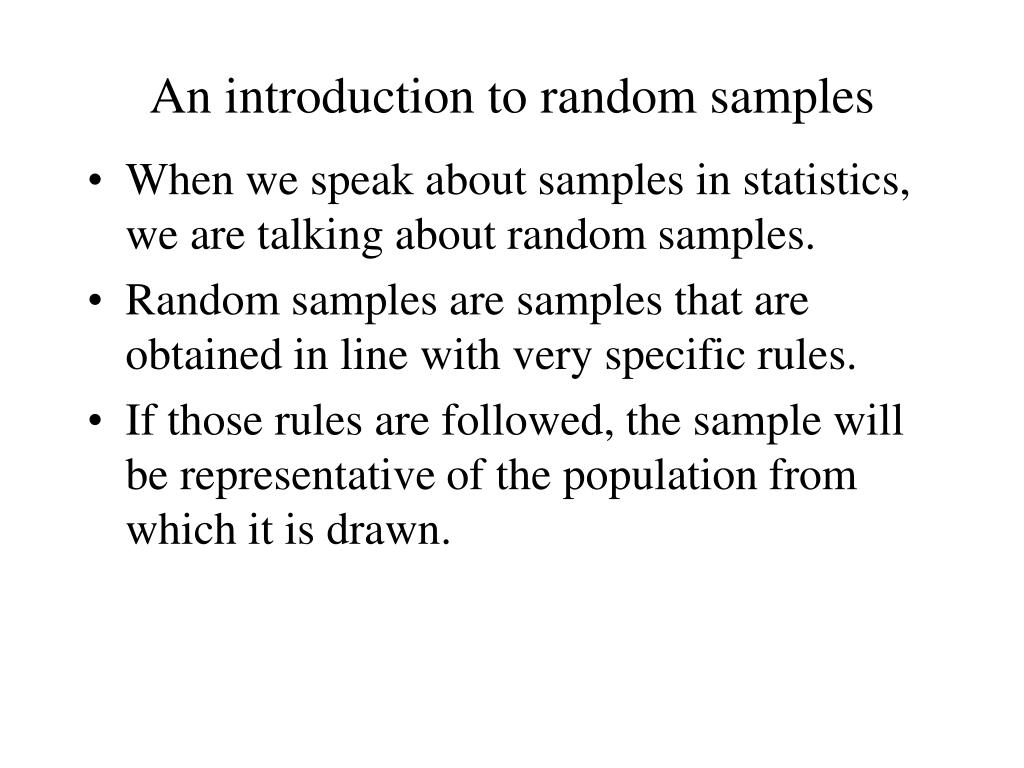 An introduction to random samples
