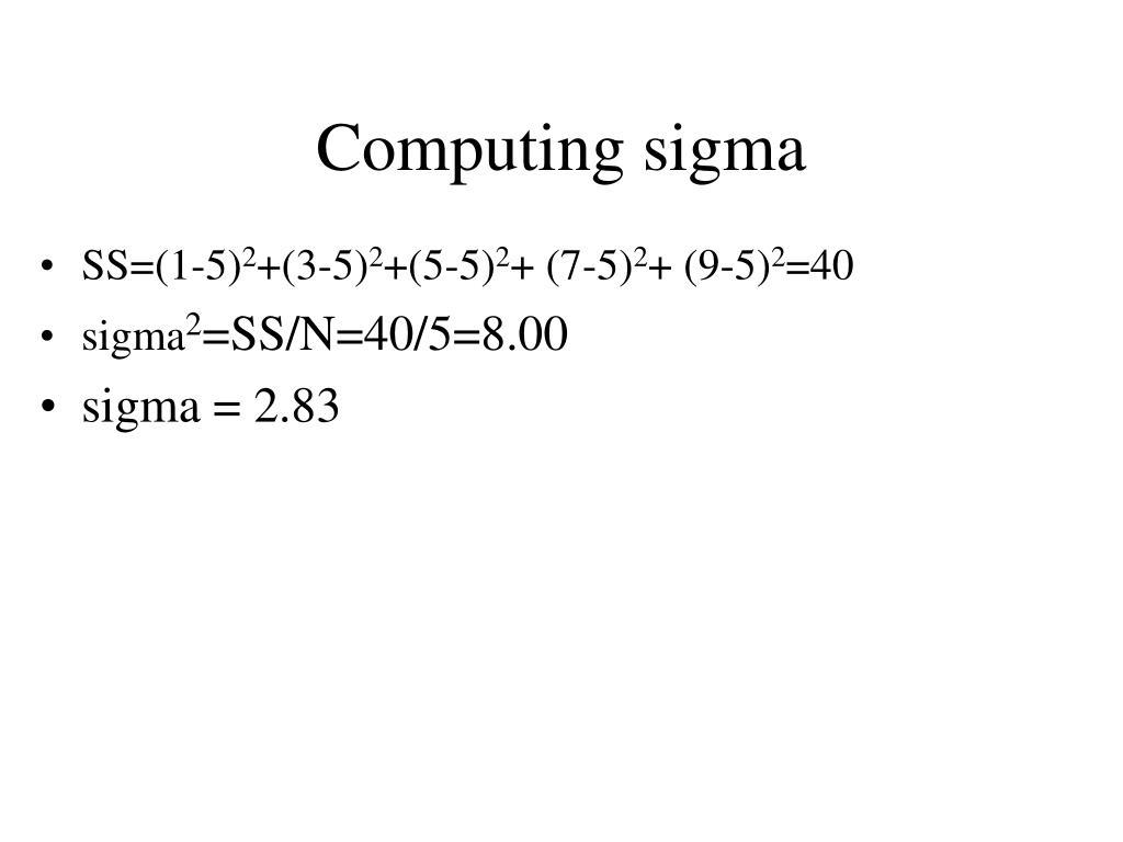Computing sigma