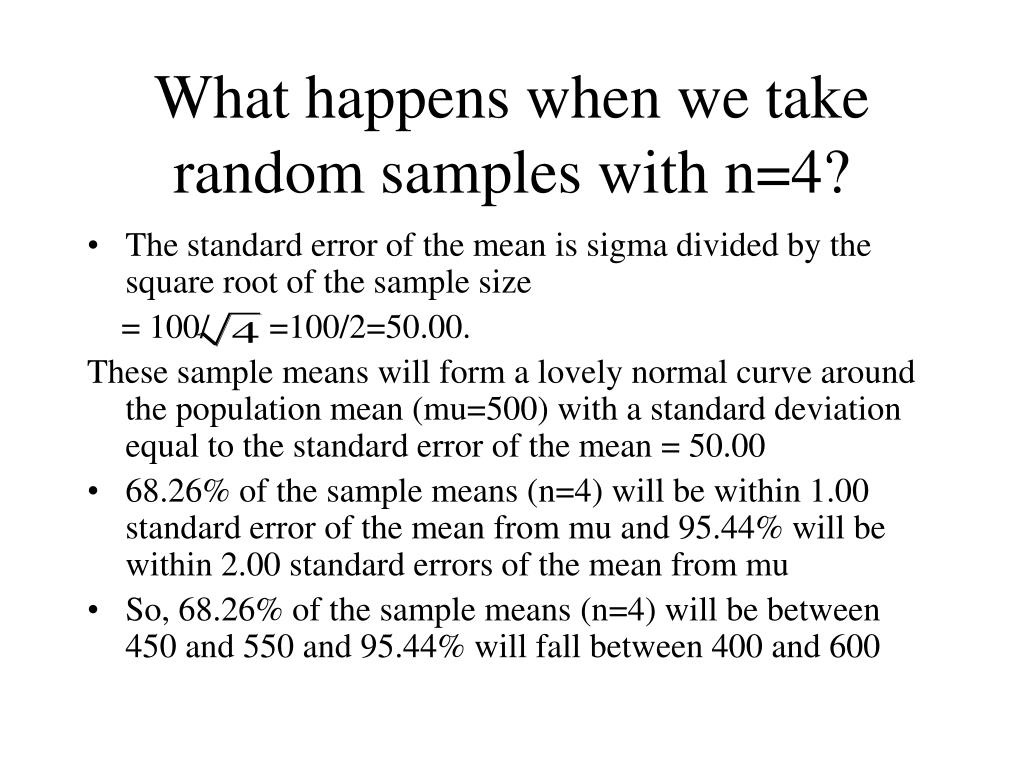 What happens when we take random samples with n=4?