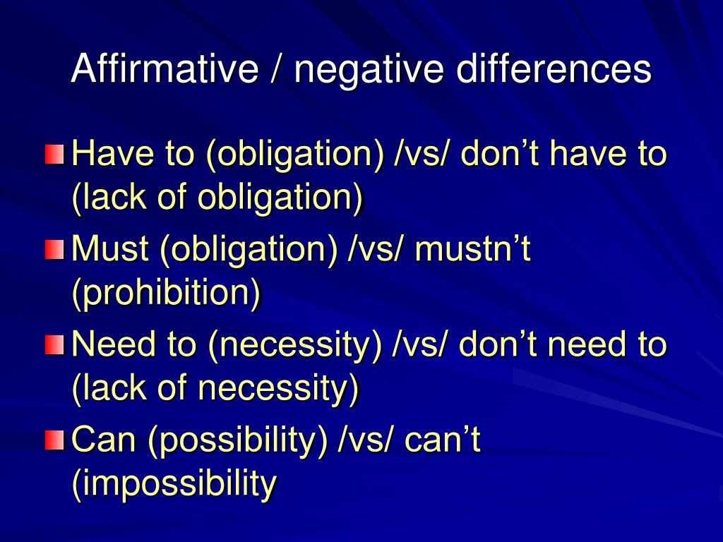 Affirmative / negative differences