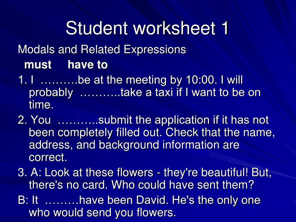 Student worksheet 1
