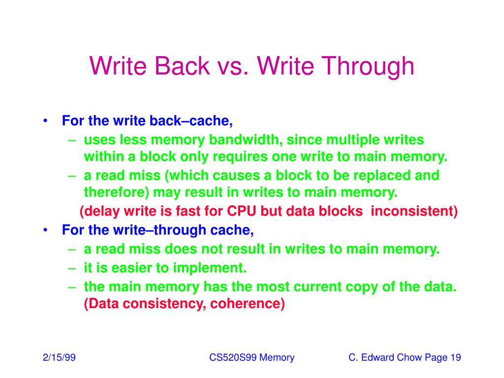 write cache April 28, 2003 cache writes and examples 2 writing to a cache writing to a cache raises several additional issues first, let's assume that the address we want to write to is already loaded.