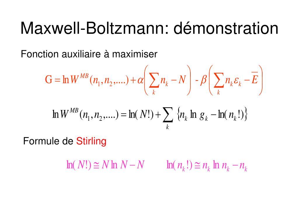 Maxwell-Boltzmann: démonstration