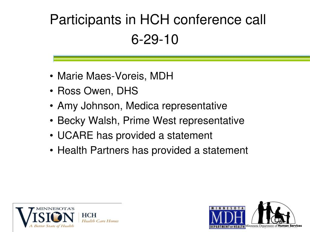 Participants in HCH conference call