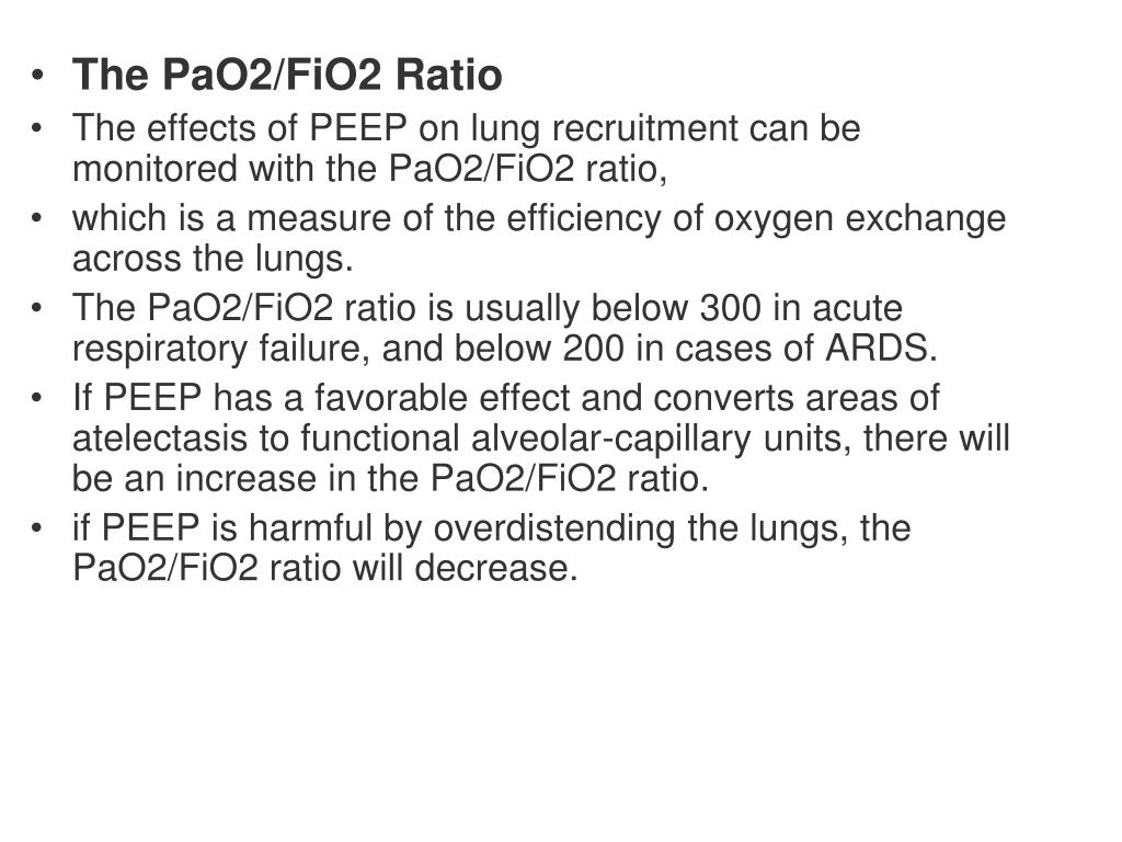 The PaO2/FiO2 Ratio