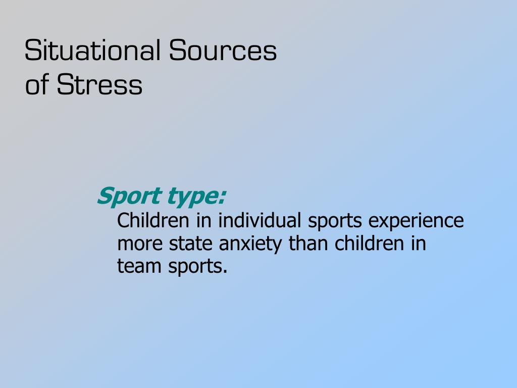 anxiety in individual sports Significant progress into the understanding of anxiety in sport has been made in pre-match competitive anxiety in elite part in individual sports.