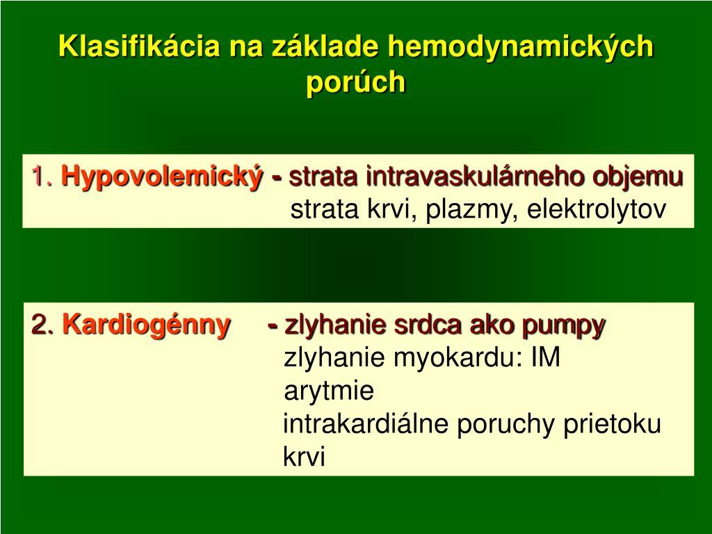 Klasifikácia na základe hemodynamických porúch
