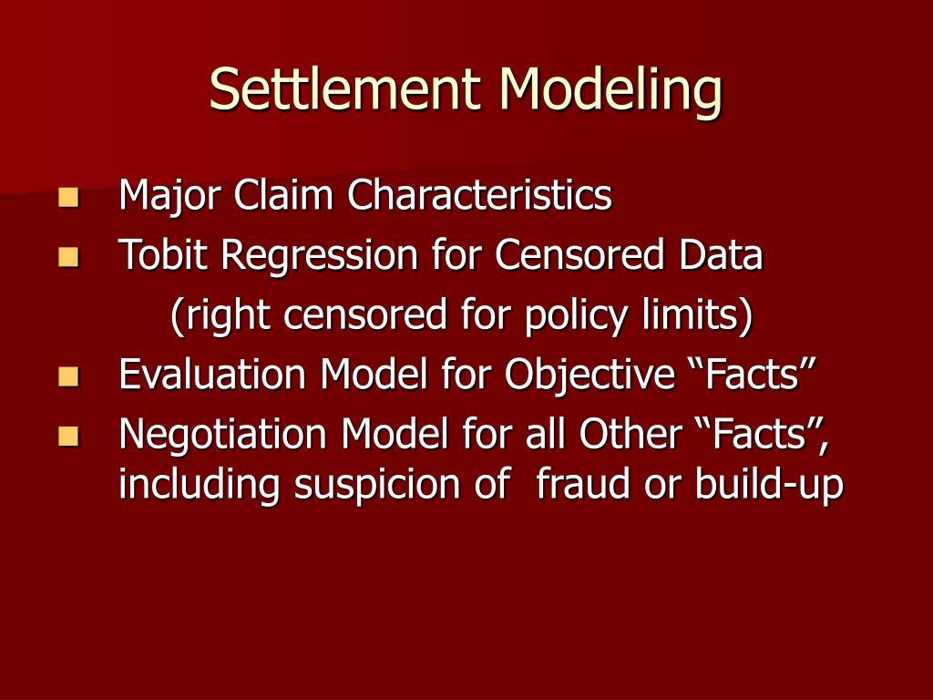 Settlement Modeling