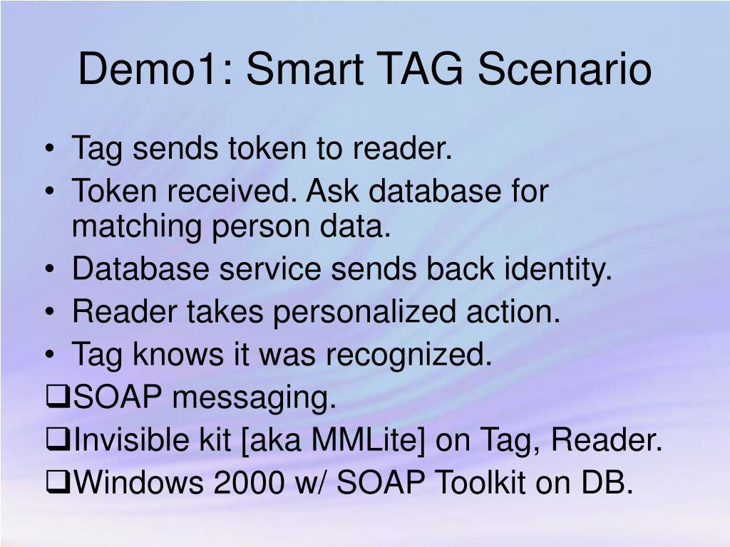 Demo1: Smart TAG Scenario