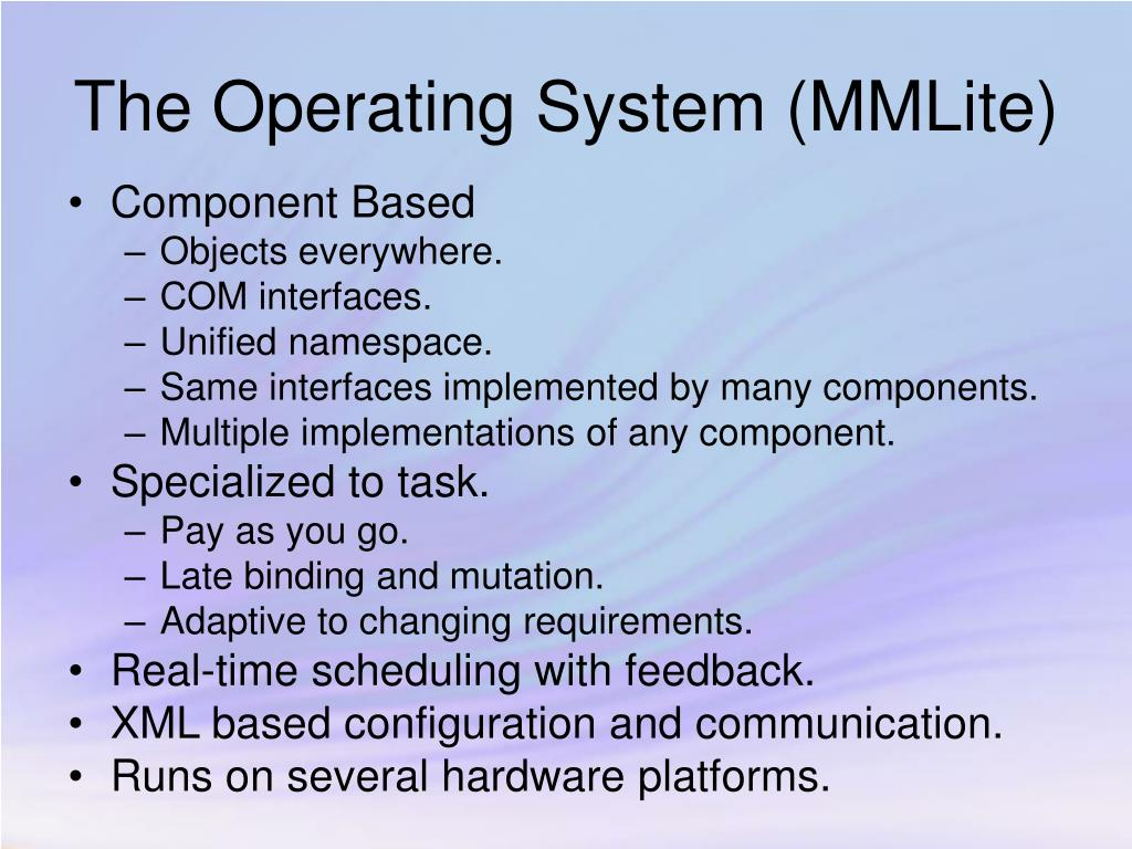 The Operating System (MMLite)