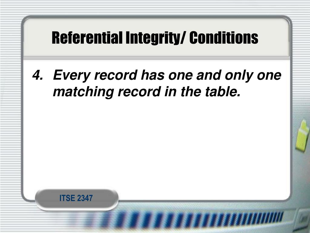 Referential Integrity/ Conditions