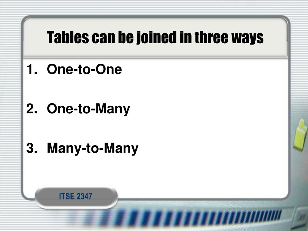 Tables can be joined in three ways