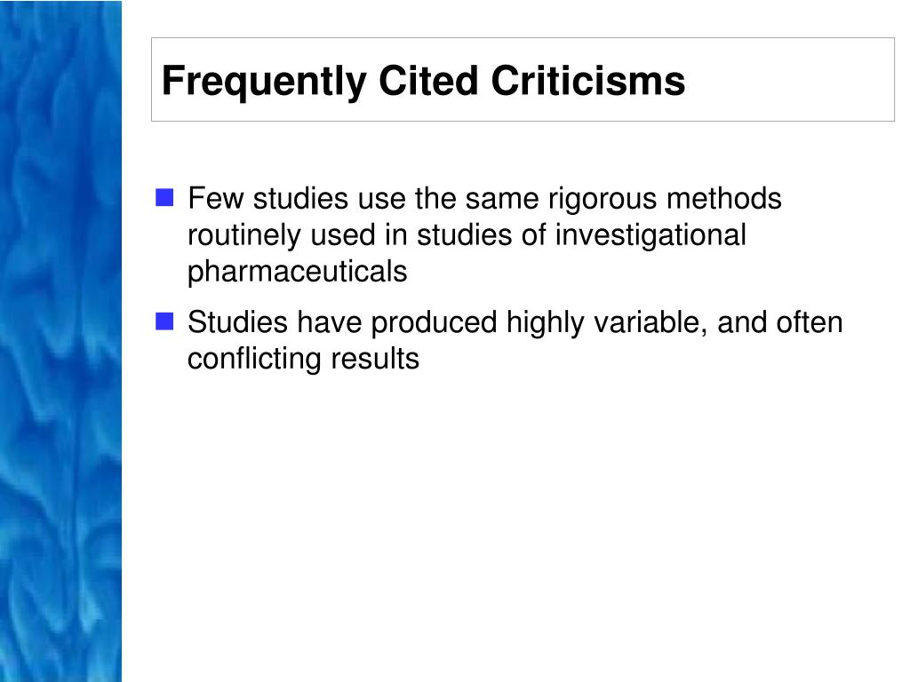 Frequently Cited Criticisms