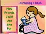 is reading a book
