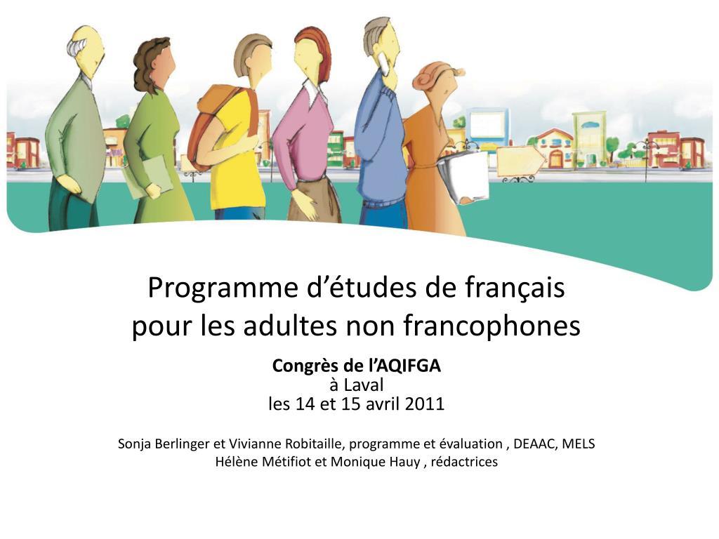 Programme d'études de français
