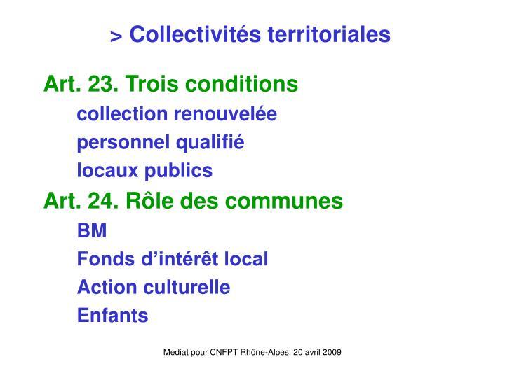 > Collectivités territoriales