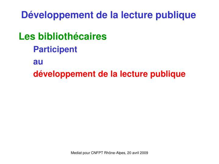 Développement de la lecture publique