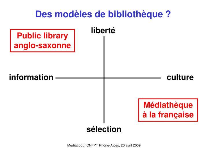 Des modèles de bibliothèque ?