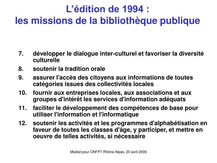 L'édition de 1994 :