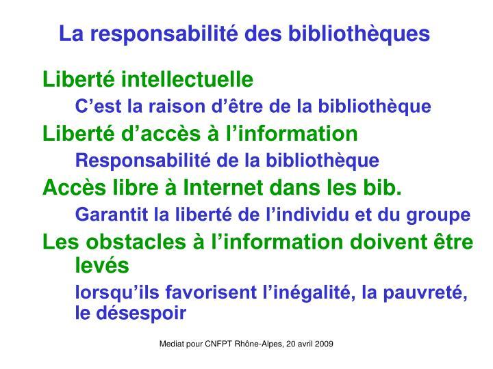 La responsabilité des bibliothèques