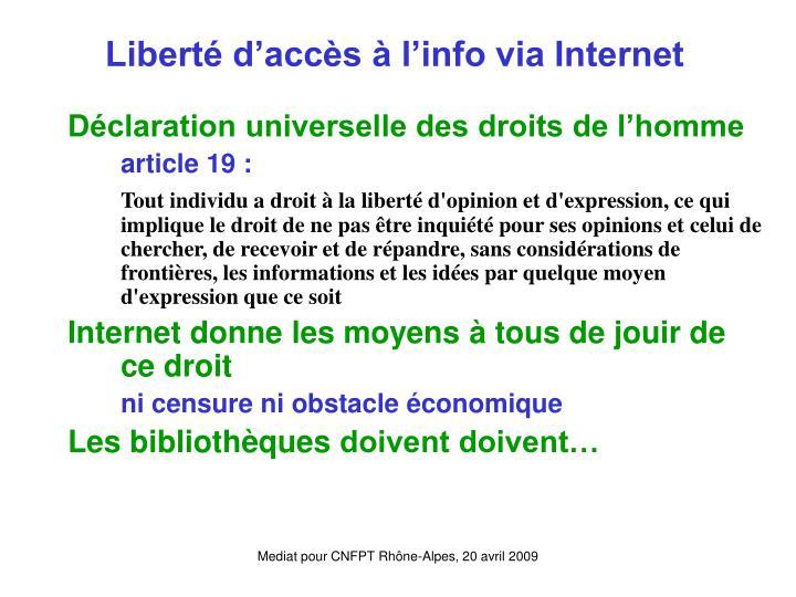 Liberté d'accès à l'info via Internet