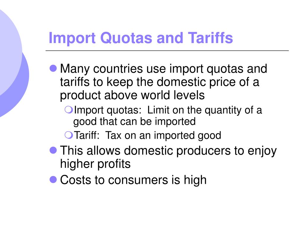 import quotas and tariffs Us import quotas for dairy products are so low, and tariffs for imports above quota are so high, that, except for cheese, imports of dairy products account for less than one percent of domestic .
