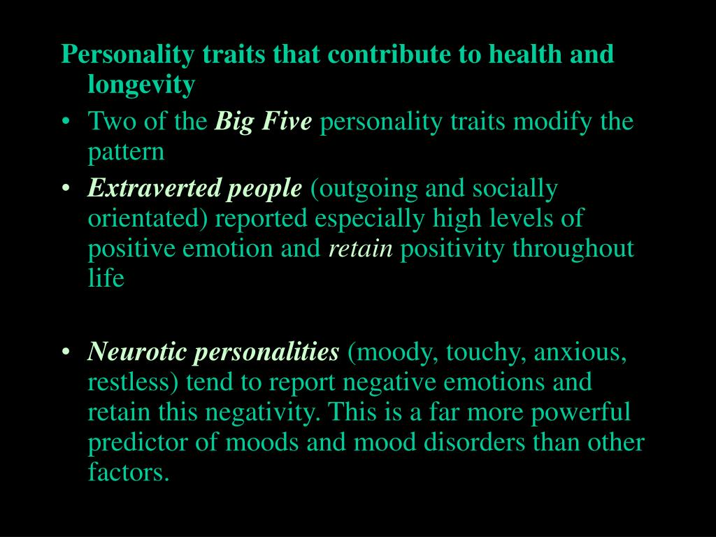 Personality traits that contribute to health and longevity