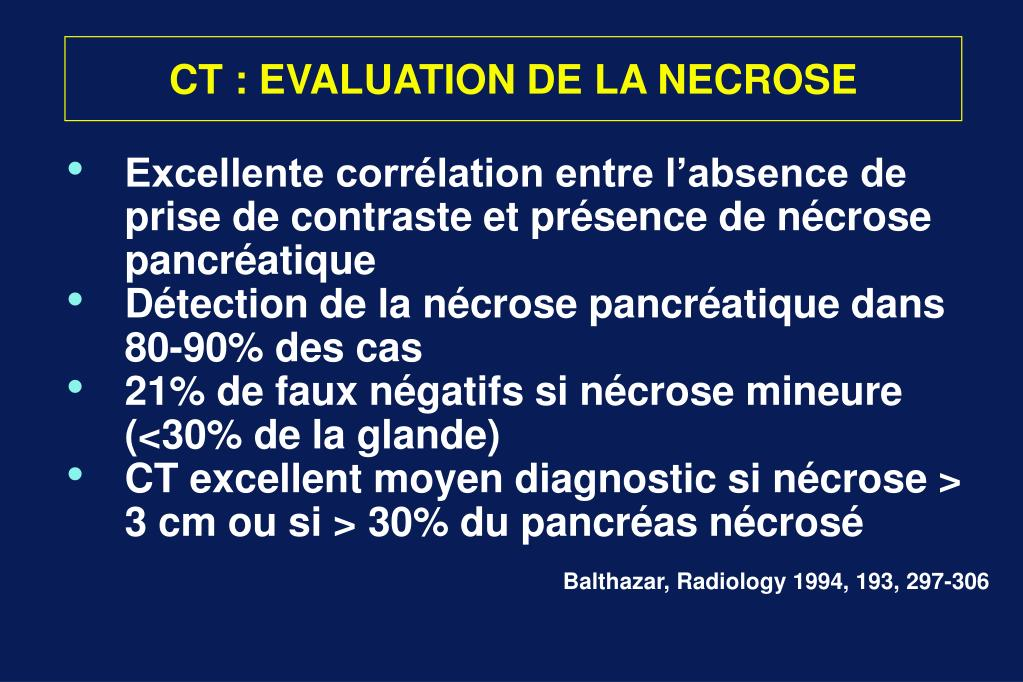 CT : EVALUATION DE LA NECROSE