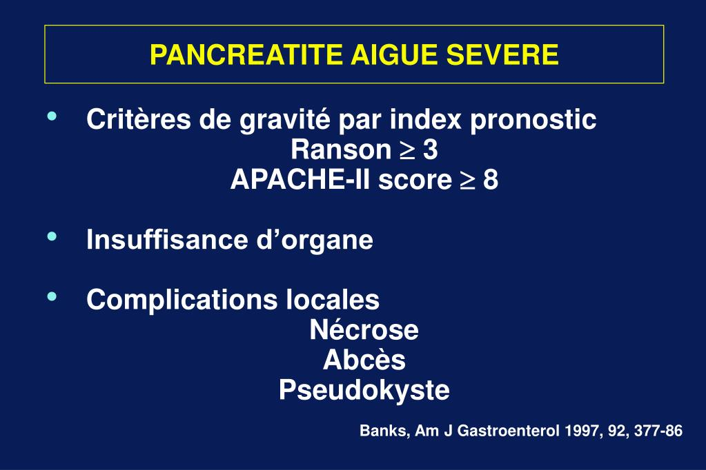 PANCREATITE AIGUE SEVERE