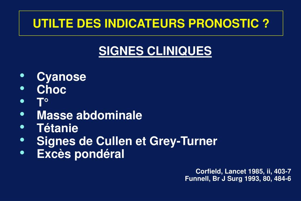 UTILTE DES INDICATEURS PRONOSTIC ?