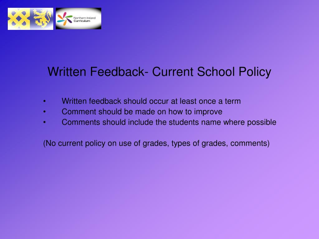 Written Feedback- Current School Policy