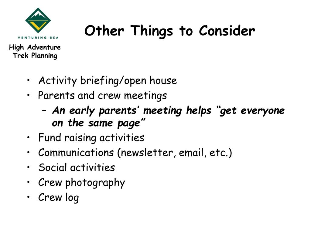 Other Things to Consider