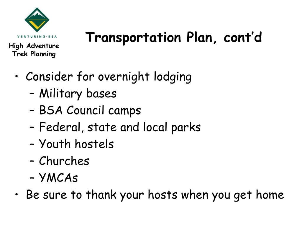 Transportation Plan, cont'd