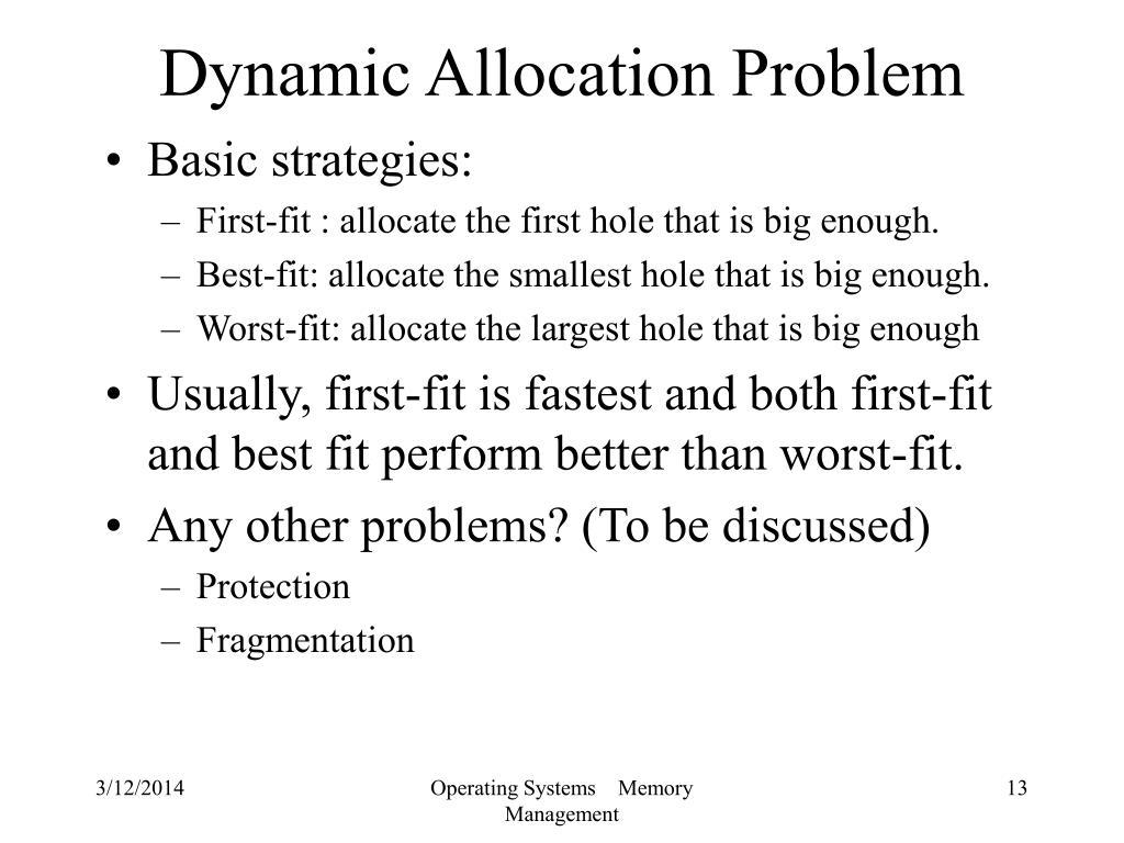 Dynamic Allocation Problem