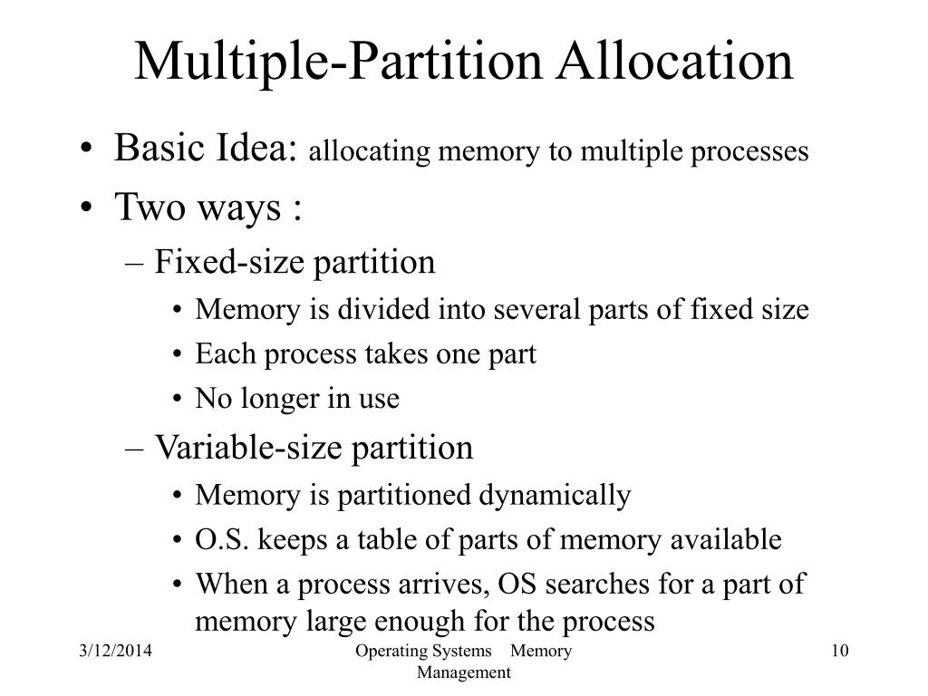 Multiple-Partition Allocation