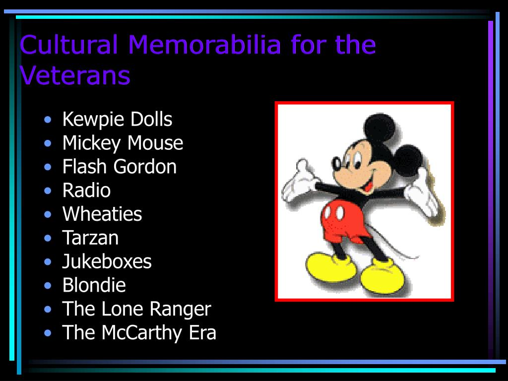 Cultural Memorabilia for the Veterans