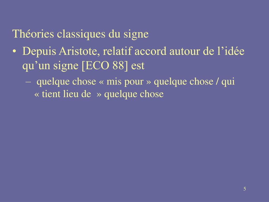 Théories classiques du signe