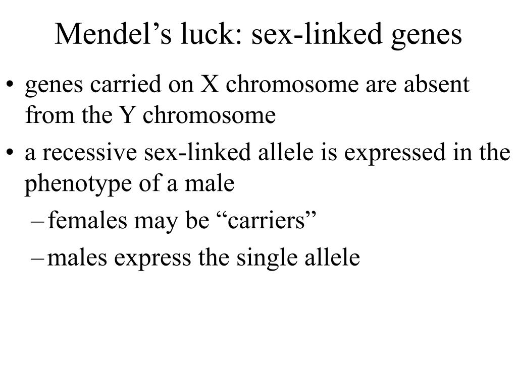 Mendel's luck: sex-linked genes