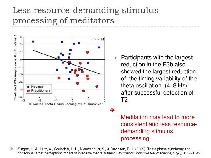Less resource-demanding stimulus processing of meditators