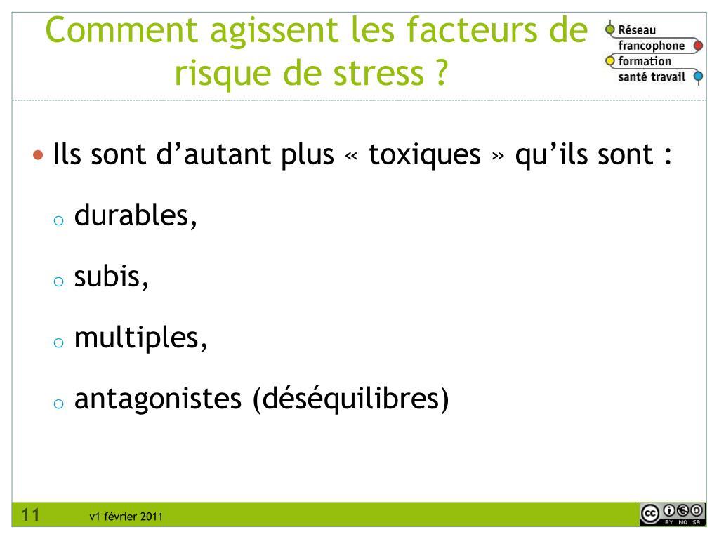 Comment agissent les facteurs de risque de stress ?