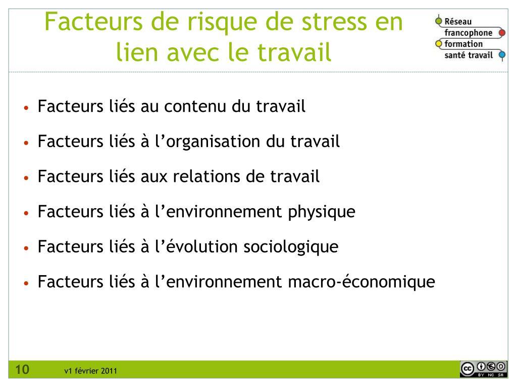 Facteurs de risque de stress en lien avec le travail