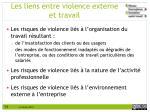 les liens entre violence externe et travail
