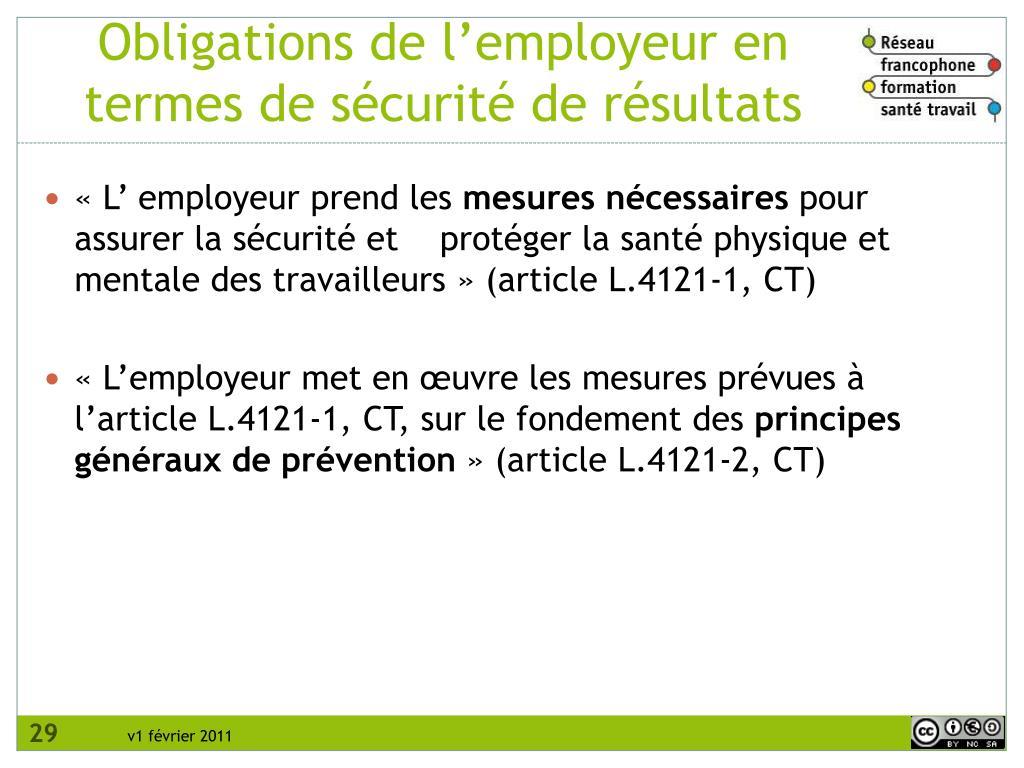 Obligations de l'employeur en termes de sécurité de résultats