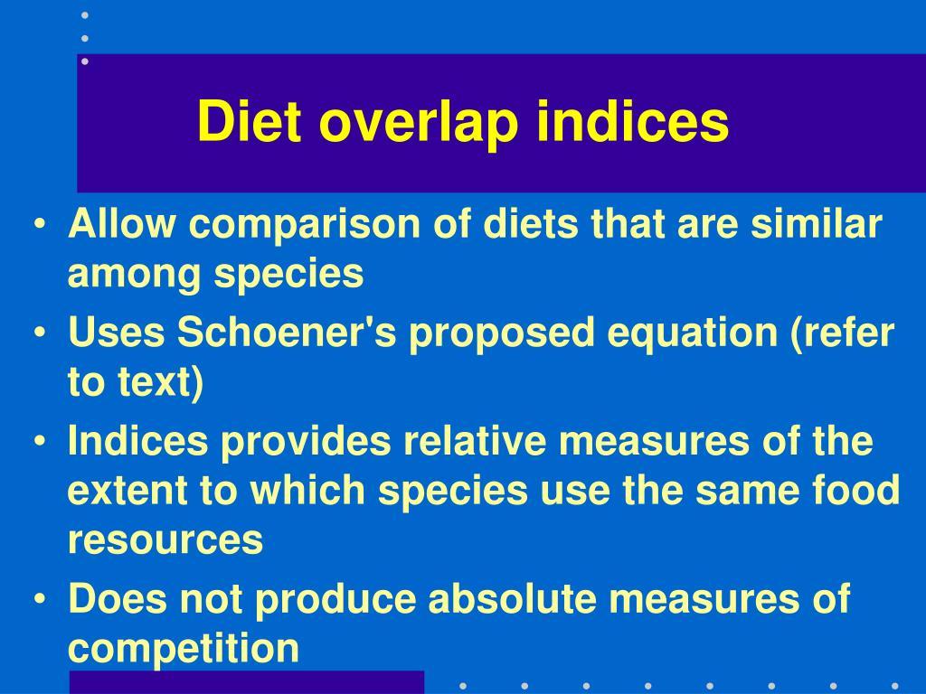 Diet overlap indices